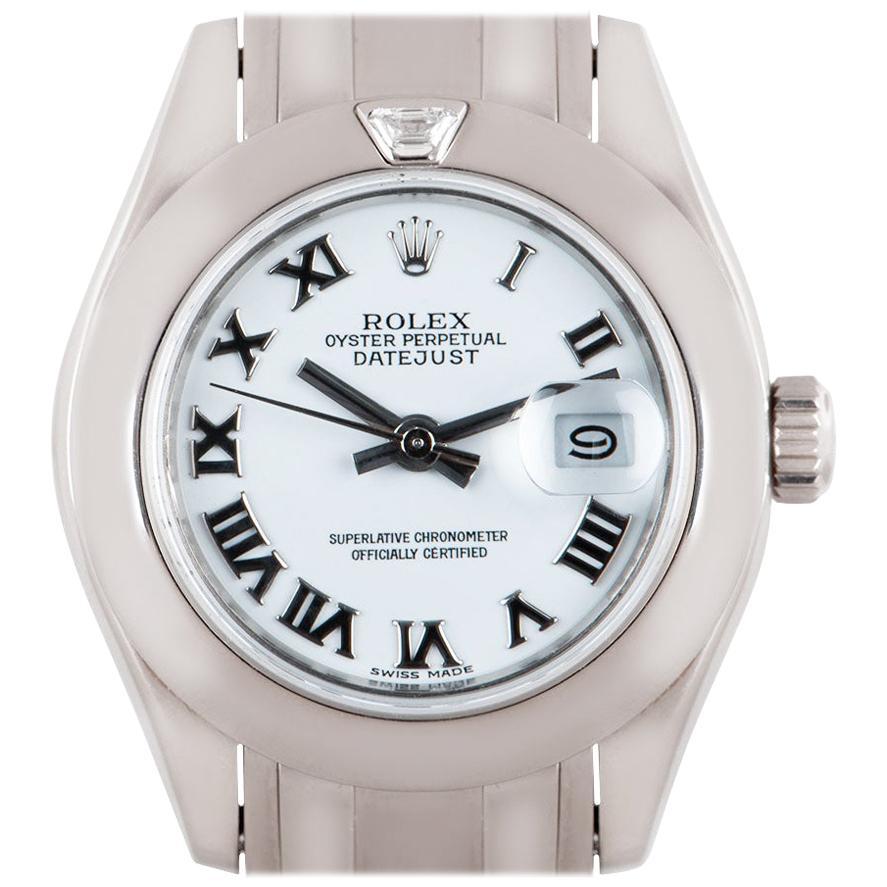 Rolex Datejust Pearlmaster Ladies White Gold White Dial Diamond 80329