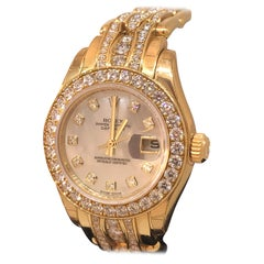 Rolex Datejust Pearlmaster Yellow Gold Diamond Set Bracelet Lady Watch 80298 New
