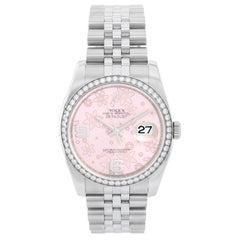 Rolex Datejust Pink Flower Arabic Diamond Bezel Ladies Steel Watch 116244