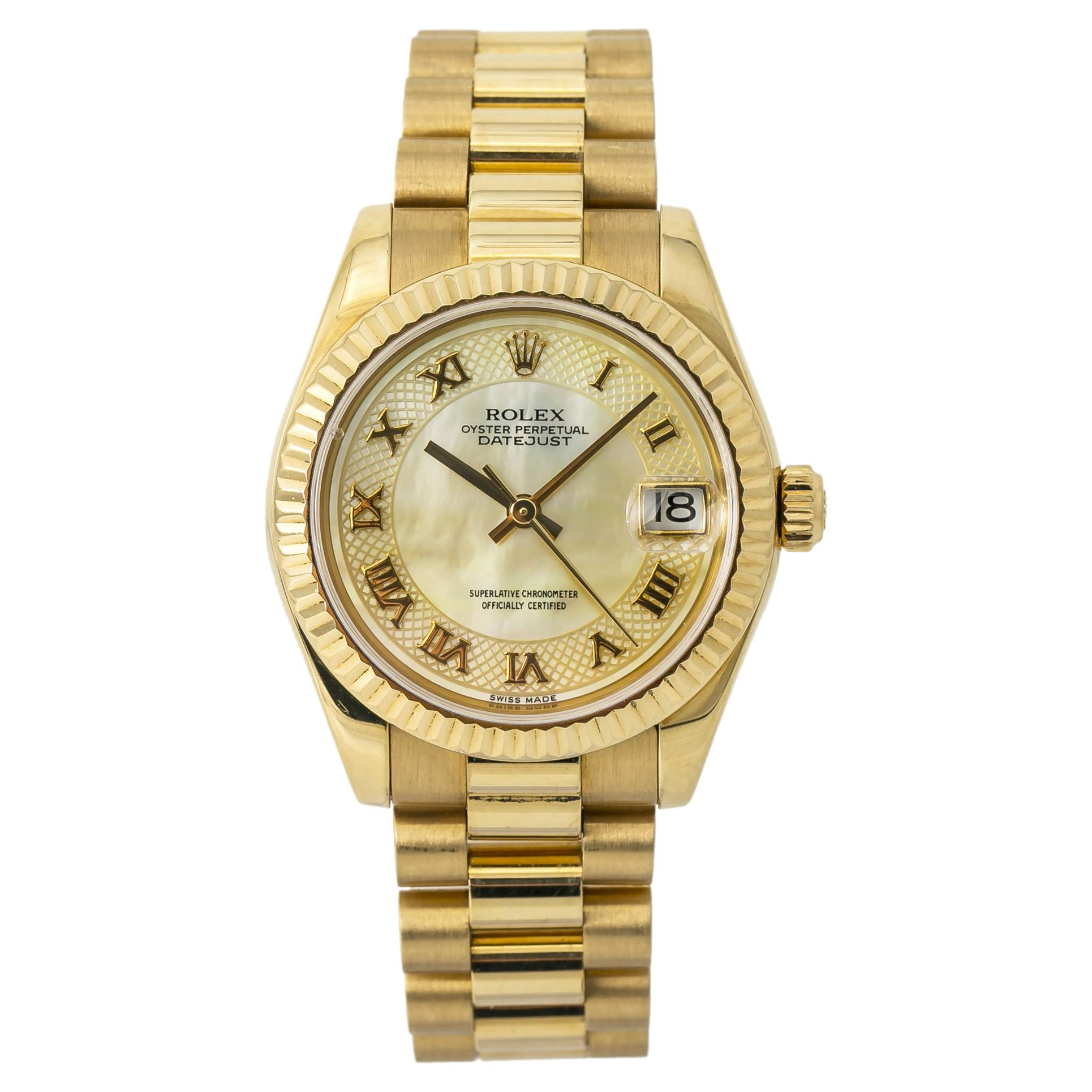 Rolex Datejust President 178278 Automatic Watch 18K Gold MOP Dial W/Papers