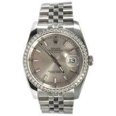 Rolex Datejust Ref 116244 Diamond Bezel Stainless Steel Watch
