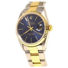 Rolex Datejust Ref. 16233 in 18 Karat Yellow Gold and Steel Blue Dial Watch