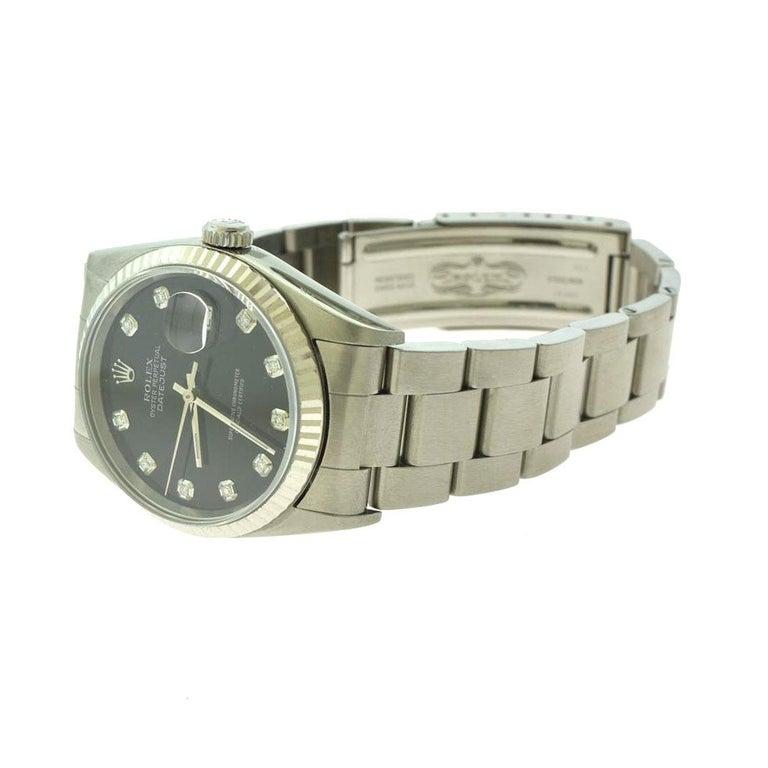 Round Cut Rolex Datejust Ref.16200 Stainless Steel Black Diamond Dial Wristwatch For Sale