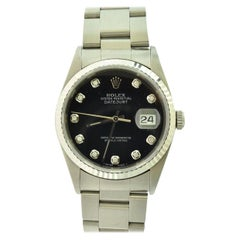 Rolex Datejust Ref.16200 Stainless Steel Black Diamond Dial Wristwatch