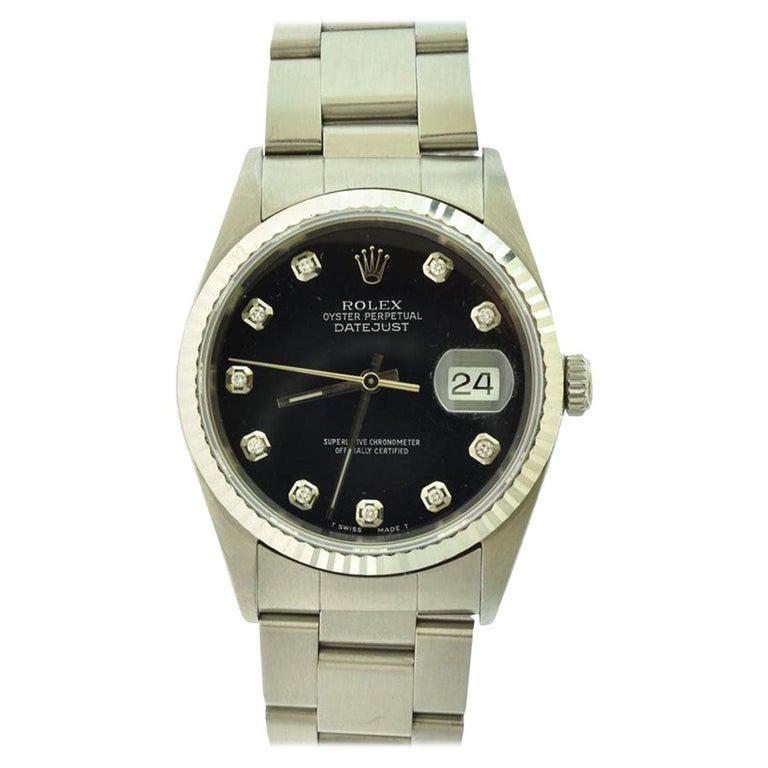 Rolex Datejust Ref.16200 Stainless Steel Black Diamond Dial Wristwatch For Sale