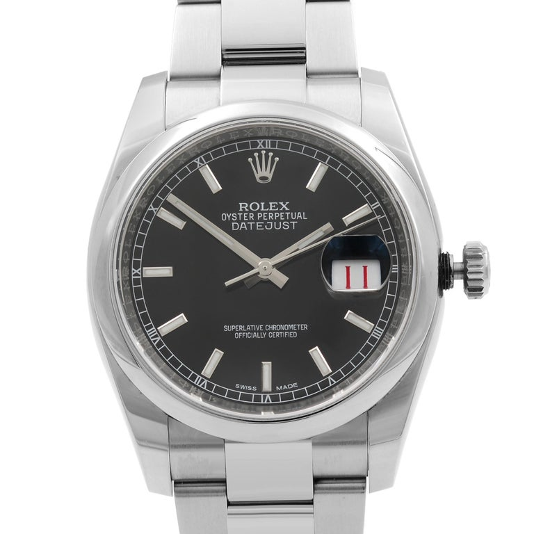 Original Box and Papers are included Covered by a one-year Chronostore warranty. Details: Model Number 116200 bkso Brand Rolex Department Men Style Classic, Luxury Model Rolex Datejust 116200 Band Color Steel Dial Color Black Case Color