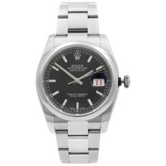 Rolex Datejust Roulette Date Steel Black Dial Automatic Men's Watch 116200
