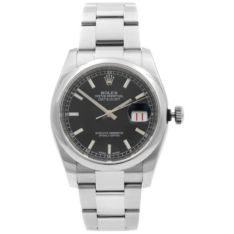 Rolex Datejust Roulette Date Steel Black Dial Automatic Men's Watch 116200 For Sale
