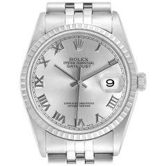 Rolex Datejust Silver Baton Dial Automatic Steel Men's Watch 16220