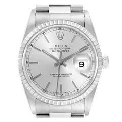 Rolex Datejust Silver Baton Dial Steel Men's Watch 16220 Box Papers