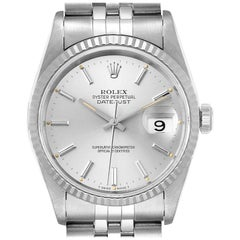 Rolex Datejust Silver Dial Fluted Bezel Steel White Gold Men's Watch 16234
