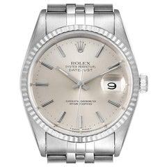 Rolex Datejust Silver Dial Fluted Bezel Steel White Gold Men's Watch 16234