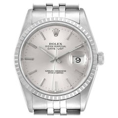Rolex Datejust Silver Dial Jubilee Bracelet Steel Men's Watch 16220 Box