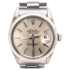 Rolex Datejust Silver Dial Stainless Steel Oyster Vintage Men's Watch 16030