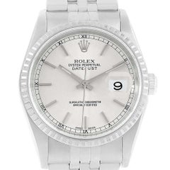 Rolex Datejust Silver Dial Steel Men's Watch 16220 Box Papers