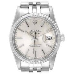 Rolex Datejust Silver Dial Steel Vintage Men's Watch 16030