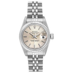 Rolex Datejust Silver Dial Steel White Gold Ladies Watch 69174 Box Papers