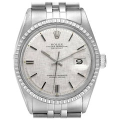 Rolex Datejust Silver Linen Dial Vintage Steel Men's Watch 1603