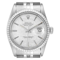 Rolex Datejust Silver Linen Dial Vintage Steel Men's Watch 16030