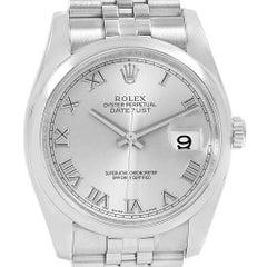 Rolex Datejust Silver Roman Dial Steel Men's Watch 116200