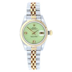 Rolex Datejust SS and 18k Gold Jadeite Diamond Dial Jubilee Bracelet Watch 79173