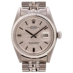 Rolex Datejust Stainless and 14 Karat White Gold with Linen Dial Ref 1601