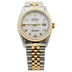 Rolex Datejust Stainless Steel and 18 Karat Yellow Gold White Dial #M16233