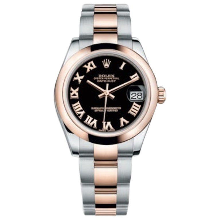 Rolex Datejust Stainless Steel and Rose Gold Ladies Watch 178241 Blk Roman For Sale