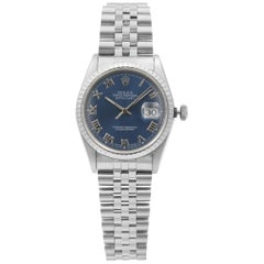 Rolex Datejust Stainless Steel Blue Roman Dial Automatic Men's Watch 16220