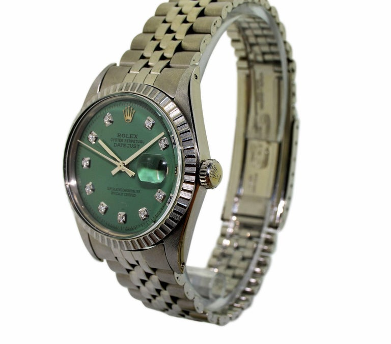 FACTORY / HOUSE: Rolex Watch  Company STYLE / REFERENCE: Datejust / 1601 METAL: Stainless Steel  CIRCA: 1978 MOVEMENT / CALIBER: Perpetual, Automatic / 26 Jewels 1570 DIAL / HANDS: Custom Replacement Diamond Dial / Baton Hands DIMENSIONS: 42mm X