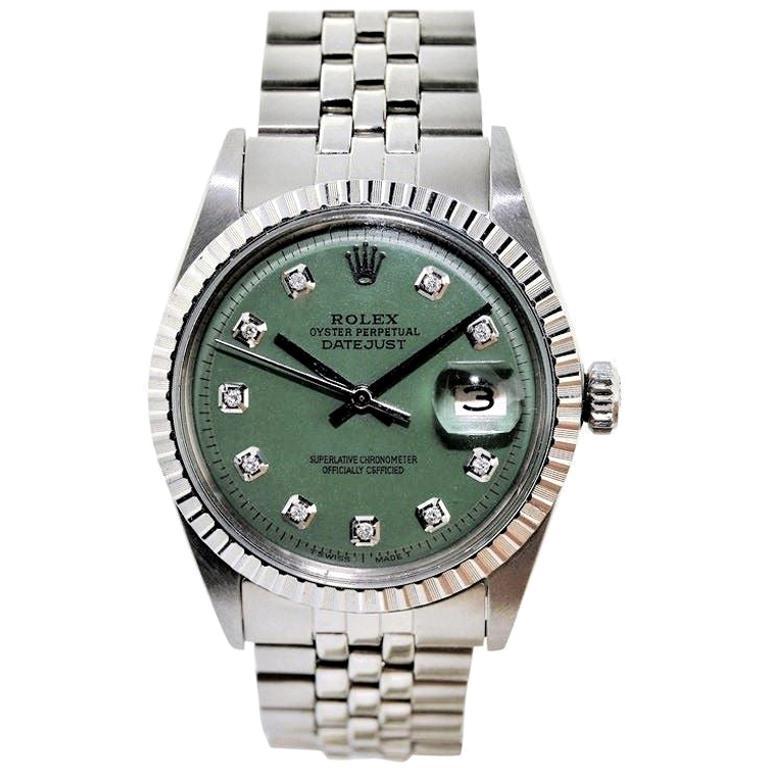 Rolex Datejust Stainless Steel Custom Green Diamond Dial, 1970's