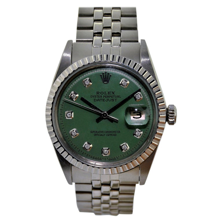 Rolex Datejust Stainless Steel Custom Green Diamond Dial, Dated 1978 For Sale