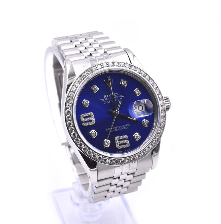 Movement: automatic 3035 movement Function: hours, minutes, seconds, date Case: 36mm stainless steel case 18k white gold diamond bezel, sapphire protective crystal, screw-down crown, water proof to 100 meters Band: stainless steel jubilee bracelet