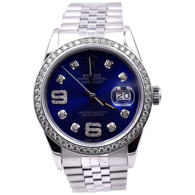Rolex Datejust Stainless Steel Datejust with Blue Diamond 9/6 Dial and Diamond B