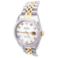 Rolex Datejust Stainless Steel Gold 1.25 Caratt Diamond Bezel Jubilee Band 16233