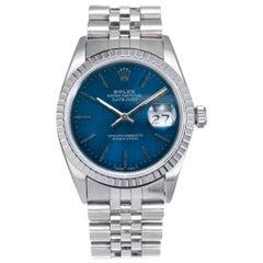 Rolex Datejust Stainless Steel Gold Custom Blue Dial Wristwatch Ref 16030