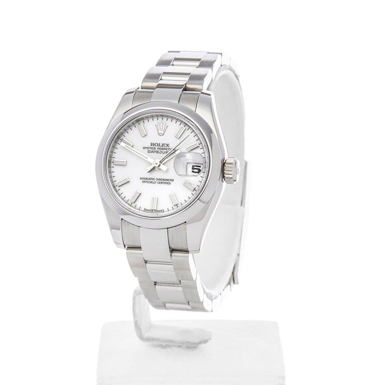 Reference: W4411  Manufacture: Rolex Model: Datejust Model Reference: 179160 Age: 3rd August 2017 Gender: Women's Box and Papers: Box and Guarantee Dial: White Baton Glass: Sapphire Crystal Movement: Automatic Water Resistance: To Manufacturers