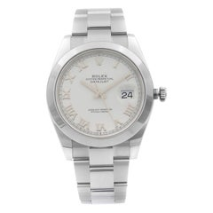 Rolex Datejust Stainless Steel White Roman Dial Automatic Men's Watch 126300