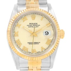 Rolex Datejust Stainless Steel Yellow Gold Men's Watch 16233 Box