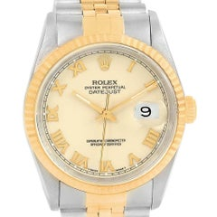 Rolex Datejust Stainless Steel Yellow Gold Men's Watch 16233 Box Papers