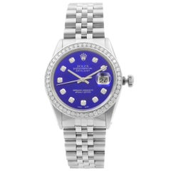 Rolex Datejust Steel 1 Carat Custom Diamond Blue MOP Dial Men's 1978 Watch 16014