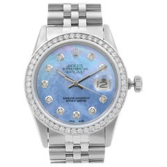 Rolex Datejust Steel 1.20 Carat Custom Diamond Blue Dial Men's 1984 Watch 16014