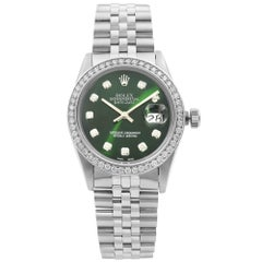 Rolex Datejust Steel 1.20 Carat Custom Diamond Green Dial Men's 1984 Watch 16014
