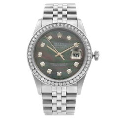 Rolex Datejust Steel 1.20 Carat Custom Diamond MOP Dial Men's 1989 Watch 16220