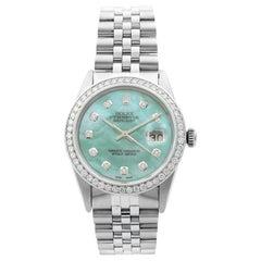 Rolex Datejust Steel 1.20 Carat Custom Teal Dial Men's 1983 Watch 16014