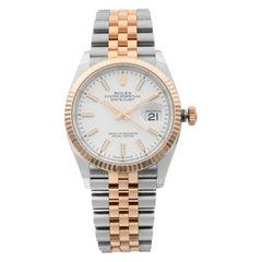 Rolex Datejust Steel 18 Karat Everose Gold White Dial Automatic Men Watch 126231