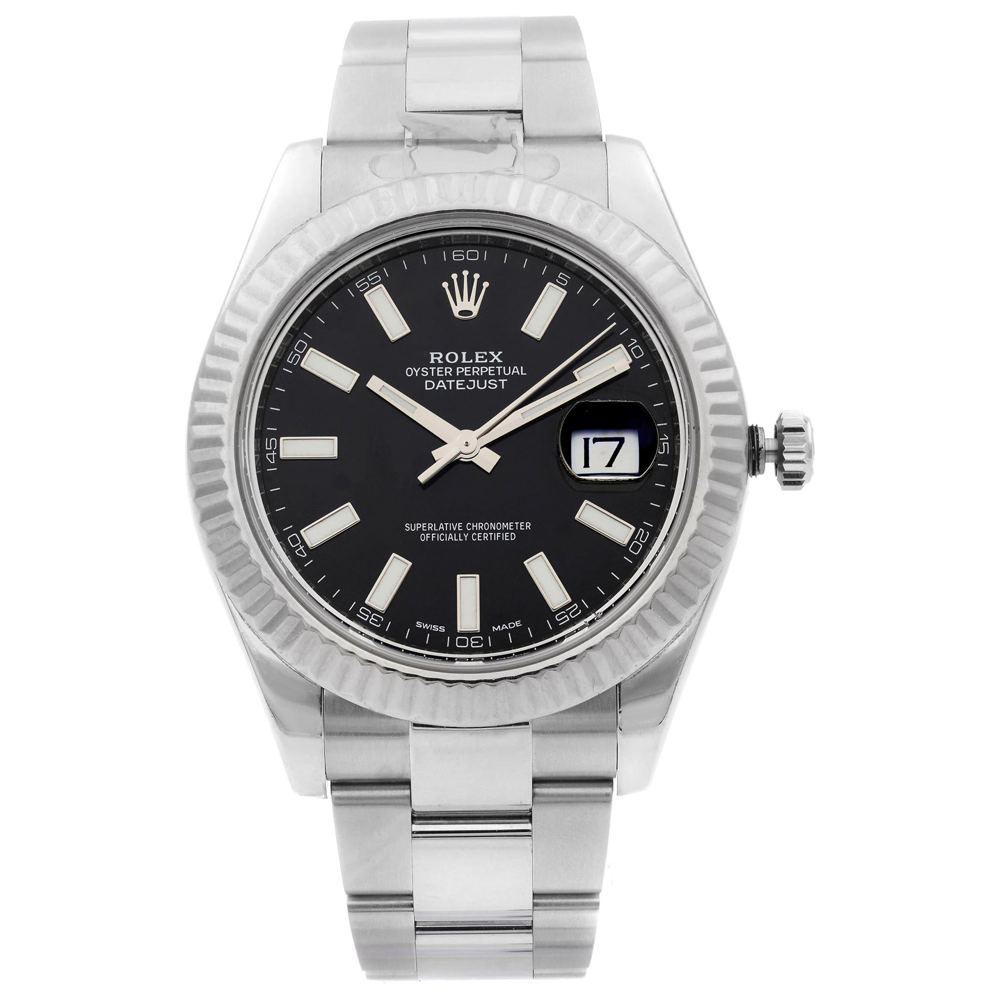 Rolex Datejust Steel 18 Karat White Gold Black Dial Automatic Men's Watch 116334