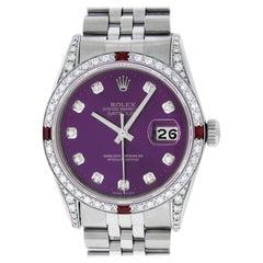 Rolex Datejust Steel / 18 Karat White Gold Purple Diamond Dial Ruby Men's Watch
