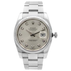 Rolex Datejust Steel 18 Karat White Gold Silver Diamond Dial Watch 116234