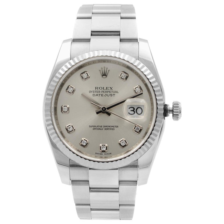 Rolex Datejust Steel 18 Karat White Gold Silver Diamond Dial Watch 116234 For Sale